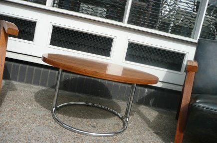 rosewood and chrome coffee table