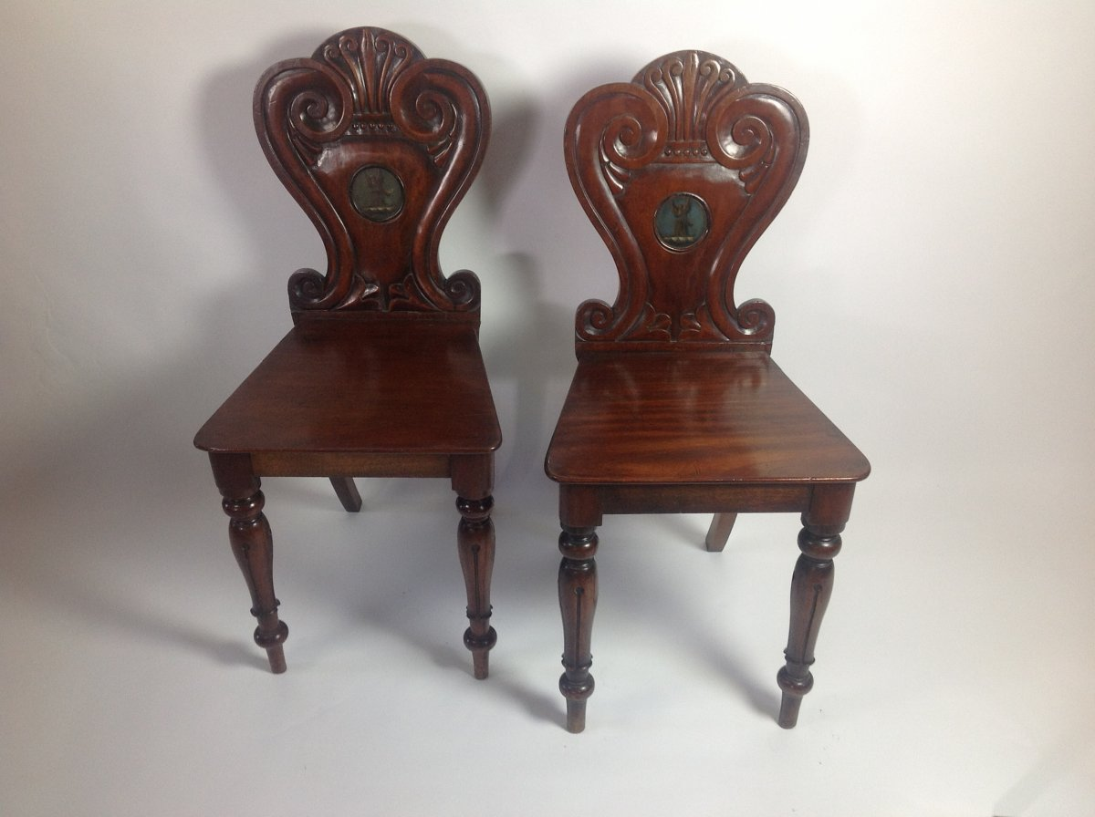 Pair of Mahogany Armorial Hall Chairs - Pair Of Mahogany Armorial Hall Chairs - North West Eight Antiques