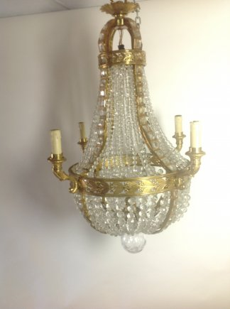 French Ormoulu and Glass Chandelier