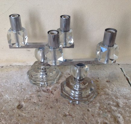 Pair of 1930's Glass Table Lights