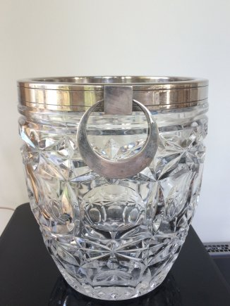Silver Plate and Glass Ice Bucket